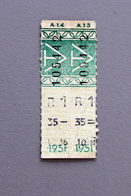 2 Tickets Papier Vert  DesTramways De Versailles 1951Coll Schnabel - Tram