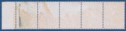FRANCE - 2178  5C LIBERTE VARIETE TRES SPECTACULAIRE BANDE DE 5 AVEC 4 IMPRESSION A SEC RARE NEUF** MNH - Variétés Et Curiosités