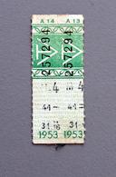 2 Tickets Papier Vert  DesTramways De Versailles 1953 Coll Schnabel - Tram