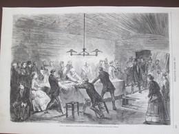 Gravure 1870  Arrestation   Maison Clandestine Rue Du Jeu De La Harpe   75005  + Famille Ouvriere - Vieux Papiers
