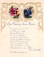 1903 LETTRE DE NOUVEL AN - NEW YEAR LETTER - NIEUWJAARSBRIEF - DOREE EN RELIEF - FURNES 1903 !  SUPERBE AJOUTIS FLEURS - Announcements