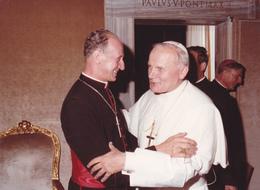 Grande PHOTO Originale Du PAPE Polonais JEAN PAUL II Et Cardinal Etchegaray - Photographe Felici De Rome 12,6 X 17,3 Cm - Papes