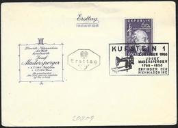 Austria/Autriche: FDC, J. Madersperger, Macchina Da Cucire, Sewing Machine, Machine à Coudre - Tessili