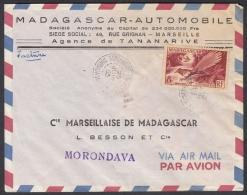"""N° 323 Sur Lettre Pub """" Automobile Renault Frégate 55 """" De Tananarive 1955 Pour Morondava - Madagascar (1889-1960)"""