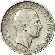 Monnaie, Albania, Zog I, Frang Ar, 1937, Rome, TTB+, Argent, KM:16 - Albania