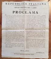"""COMO 15/11/1804 ANNO 3 REPUBBLICA ITALIANA DIPARTIMENTO DEL LARIO PROCLAMA DI BOARI """" Febbre Attaticcia Nella Citta' Di - Posters"""