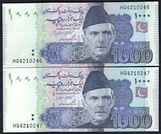 Pakistan - 1000 Rupees 2014 X 2 Pcs. Consecutive Serial Nr. - P50i(2) - Pakistan