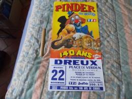 Affiche Cirque Pinder Jean Richard 140 Ans De Cirque à Dreux - Posters
