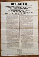 GUERRA D'INDIPENDENZA/ REPUBBLICA ROMANA DECRETO  DELLA COMMISSIONE PROVVISORIA DI GOVERNO DEL 26/1/1849 RRR - Manifesti