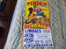 Affiche Cirque Pinder Jean Richard 140 Ans De Cirque à Limoges - Posters