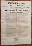 GUERRA D'INDIPENDENZA 1848-49 MANIFESTO PER L'ASSEMBLEA NAZIONALE DELLO STATO ROMANO DEL 31/12/1848 - Posters