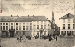 Cp Wervicq Wervik Westflandern, Place Saint Martin Et Hotel Communal - Cartes Postales