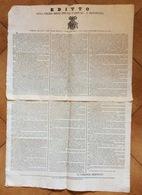 EDITTO CARD.BERNETTI SULLA POLIZIA DELLE STRADE NAZIONALI E PROVINCIALI MANIFESTO IN DUE PARTI DEL 1/12/1828 - Posters