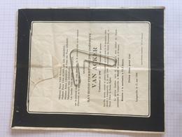 18E - Lettre Faire Part Raymond Van Acker Combattant 40-45 Prisonnier Guerre Né Ostende Dcd Longueville 1949 - Obituary Notices