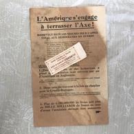 L'AMERIQUE S'ENGAGE A TERRASSER L'AXE - GUERRE 40-45 TRACT LANCE EN BELGIQUE ET SUR LES TROUPES ENNEMIES PAR DES AVIONS - Posters
