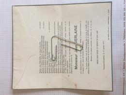 18E - Lettre Faire Part Jean Verlaine Né Mont  Saint Guibert Dcd Tourinnes Saint Lambert 1977 - Obituary Notices