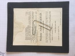 18E - Lettre Faire Part Laura Marié Gérard Née Chaumont Gistoux Dcd Longueville 1951 - Obituary Notices