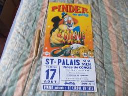 Affiche Cirque Pinder Jean Richard Le Crique En Fête à St-Palais - Posters
