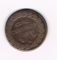 &  FRANKRIJK  5 CENTIMES  L'AN 8. A  1799/1800 - France