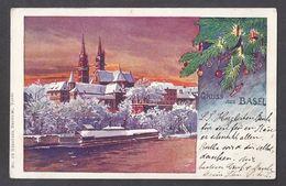 """Schweiz Suisse 1899: GRUSS AUS BASEL """"Weihnachten"""" (Gebrüder Bertschi, Basel No.15) Mit O BASEL 27.XII.00 Nach Locle - BS Bâle-Ville"""