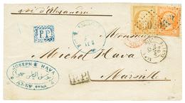 536 EGYPT - ALEP (SYRIA) Via RUSSIAN P.O ALEXANDRIA : 1864 FRANCE 10c + 40c Canc. GC 5080 + ALEXANDRIE EGYPTE + Boxed P. - Egypt
