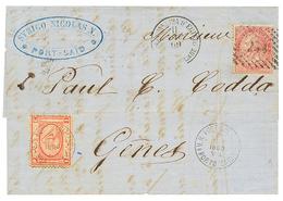 538 1869 EGYPT 1P Canc. PORTO-SAID + ITALY 40c Canc. 234 + ALESSANDRIA D' EGITTO On Entire Letter To ITALY. Superb. - Egypt