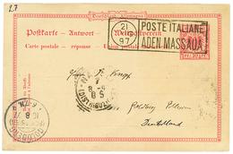 542 ETHIOPIA - ERITREA : 1897 GERMANY 10pf Reply Card Canc. POSTE ITALIANE MASSAUA ADEN To GERMANY. GREAT RARITY. Superb - Ethiopia