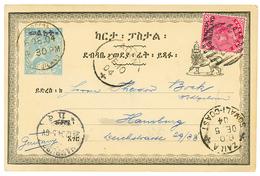 "543 ETHIOPIA : 1904 P./Stat 1g Datelined ""ADIS-ABEBA"" + BRITISH SOMALILAND 1d Canc. Killer B + ZAILA SOMALI COAST + ADEN - Ethiopia"