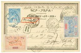 544 ETHIOPIA : 1905 P./Stat 20 On 1g + OBOCK 15c + 20c Canc. DJIBOUTI + HARAR POSTE FRANCAISE Sent REGISTERED To FRANCE. - Ethiopia