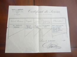 MILITARIA CERTIFICAT DE SERVICE PALAIS DE NOUVEAUTE PARIS 15 NOVEMBRE 1930 - Documents