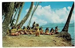 CPSM TAHITI BELLES DANSEUSES TAHITIENNES SUR LA PLAGE DE PUNAUIA - Tahiti