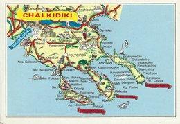 Map On Postcard.  Chalkidiki  Greece. Sent To Denmark.  # 02931 - Maps