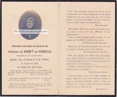 FAIRE PART VIGNET DE VENDEUIL JEHANNE (JEANNE), CIOCHÉ, PIEMONT, Religieuse, Sacré Coeur. Photo Collée Sur Support. - Obituary Notices