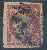 N°6 CARMIN FONCE OBLITERATION GROS POINTS OU GRILLE. - 1849-1850 Cérès