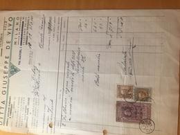 DITTA GIUSEPPE DE VIVO-MOBILI ACCIAI CROMATI-10-12-1938-MILANO-VIA SALVINI-FATTURA - Italia