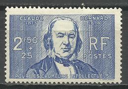 FRANCE , FRENCH , 2 F 50 + 25 C , Claude Bernard , 1940 , N° YT  464 ( ** ) - Nuevos