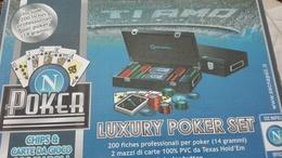 LUXURY SET POKER NAPOLI CALCIO CASINO QUALITY ORIGINALE MAI USATO - Group Games, Parlour Games