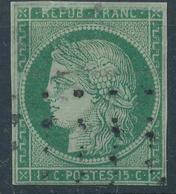N°2 VERT FONCE OBLITERATION GROS POINTS - 1849-1850 Ceres