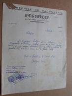PORTEJOIE Lafeline Par Bransat (Allier) Maçonnerie - 1950 ( Correspondance / Facture / Bon De Commande ) ! - Petits Métiers