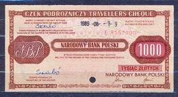 Poland  - 1988 -  1000 Zl ..... Travelles Cheque   AUNC - Poland