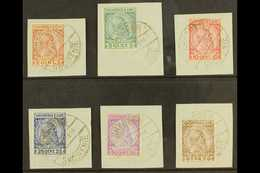 """1913  Skanderbeg Complete Set Of Six, Mi 29/34, With Each Value On A Separate Piece Cancelled By """"SHKODER / SHQIPENIE /  - Albanien"""