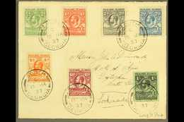 """SOUTH GEORGIA  Falkland Is 1929-37 """"Whale And Penguins"""" Set Complete To 1s Tied To Env Addressed To Officer On Board HMS - Falkland Islands"""