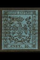 """MODENA  1852 40c On Deep Blue, With Stop, Variety """"cnet For Cent"""", Sass 10f, Superb Used With Large Even Margins All Rou - Unclassified"""