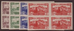 """1945  Tourist Publicity Airpost Set, Variety """"IMPERF BLOCKS OF 4"""", Maury 197/200, Superb NHM. (16 Stamps) For More Image - Lebanon"""