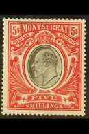 1903  5s Black & Scarlet, Wmk Crown CC, SG 23, Very Fine Mint. For More Images, Please Visit Http://www.sandafayre.com/i - Montserrat