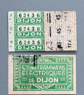3 Tickets Papier Tramway DIJON Recto Verso Coll Schnabel - Tram