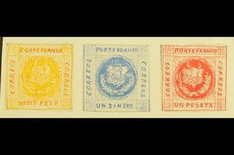 """1861 HAND PAINTED STAMPS  Unique Miniature Artworks Created By A French """"Timbrophile"""" In 1861. Three Values With Similar - Peru"""