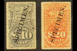 "REVENUES  1880 10s Grey & 20s Orange PERF PLATE PROOF Overprinted ""SPECIMEN"" On Gummed Paper, Fine Mint. Fresh & Very Sc - Peru"
