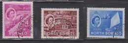 NORTH BORNEO Scott # 264, 267-8 Used - QEII & Various Scenes - North Borneo (...-1963)