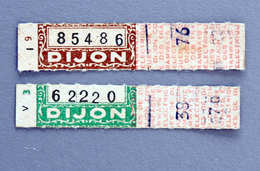 2 Tickets Papier Tramway DIJON  Coll Schnabel - Tram